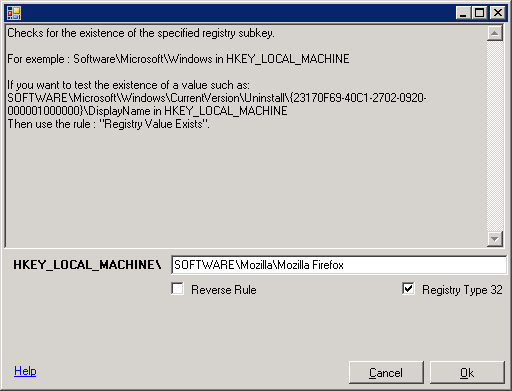 Registry key Exists Rule